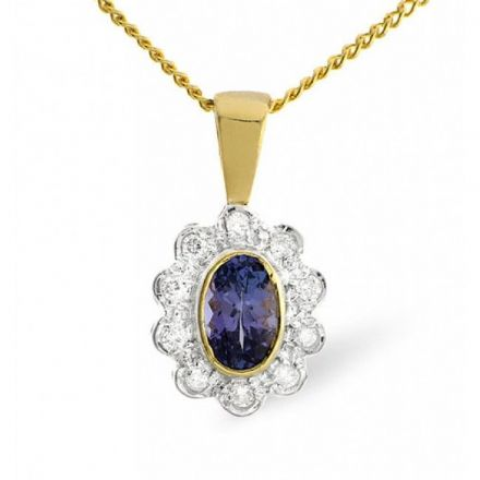 9K Gold 0.10ct Diamond & 6mm x 4mm Tanzanite Pendant, Z1437